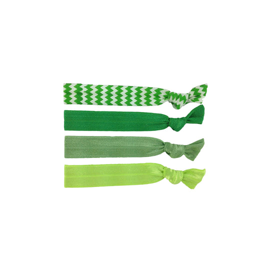 Stretchy Hair Ties 4 Pack - Zig Zag Green
