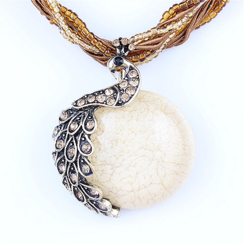 Peacock Necklace with Stone Pendant - Blue Sky Deals