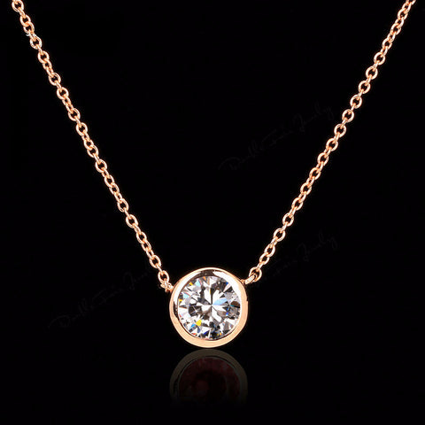 18K Rose Gold Plated Gemstone Pendant - Blue Sky Deals