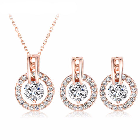 Rose Gold Necklace/Earring Set - Blue Sky Deals