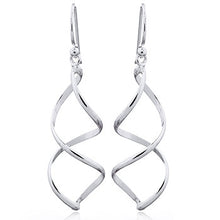 925 Silver Waved Wirework Dangle Earrings