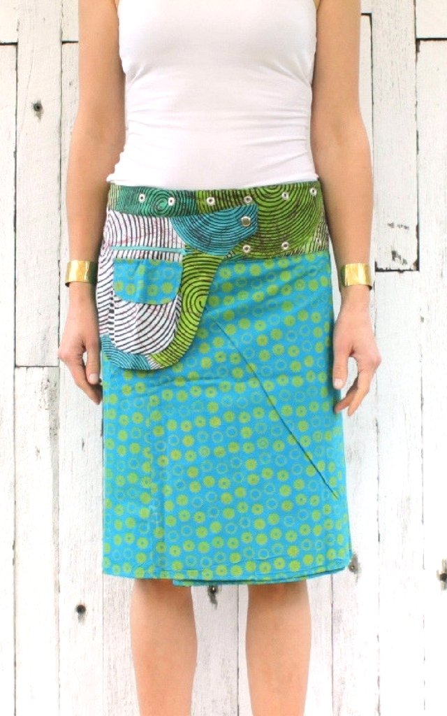 Reversible Skirt in Aqua Floral Print