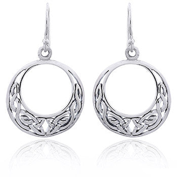 925 Silver Celtic Crescent Shaped Danglers