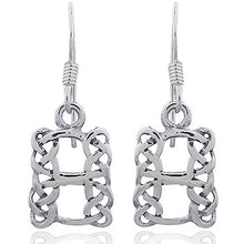 925 Silver Celtic Knot Openwork Rectangle Earrings