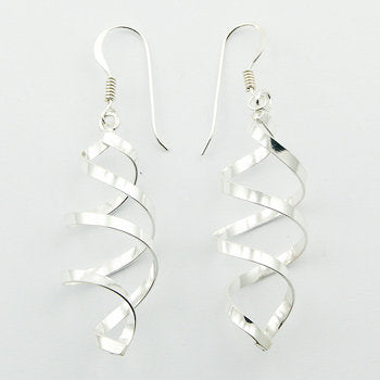 925 Silver Curled Twisted Wirework Dangle Earrings