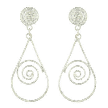 925 Silver Teardrop Stud Earrings with Spirals