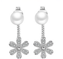Pearl and CZ Flower Drop Earrings - Eleganz n Grace - The Style Shoppe