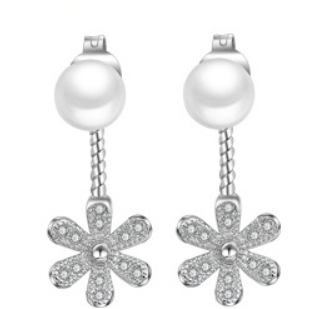 Pearl and CZ Flower Drop Earrings