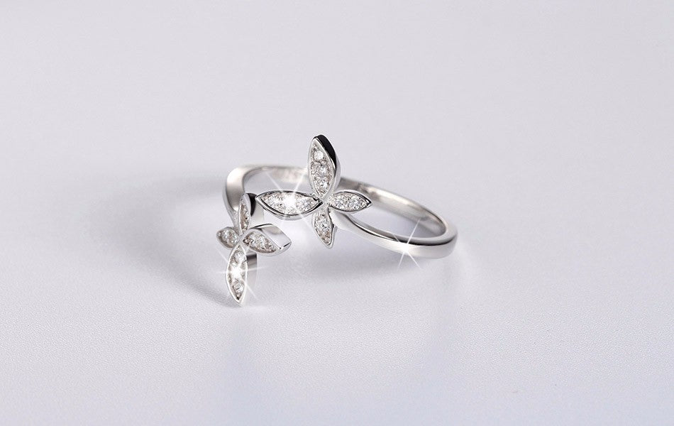 Adjustable Sterling Silver Ring with Cubic Zirconia - Eleganz n Grace - The Style Shoppe