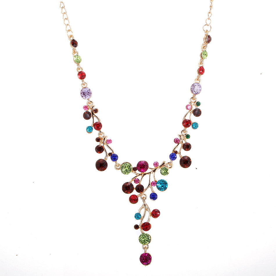 Gorgeous Colours Rhinestone Necklace - Eleganz n Grace - The Style Shoppe