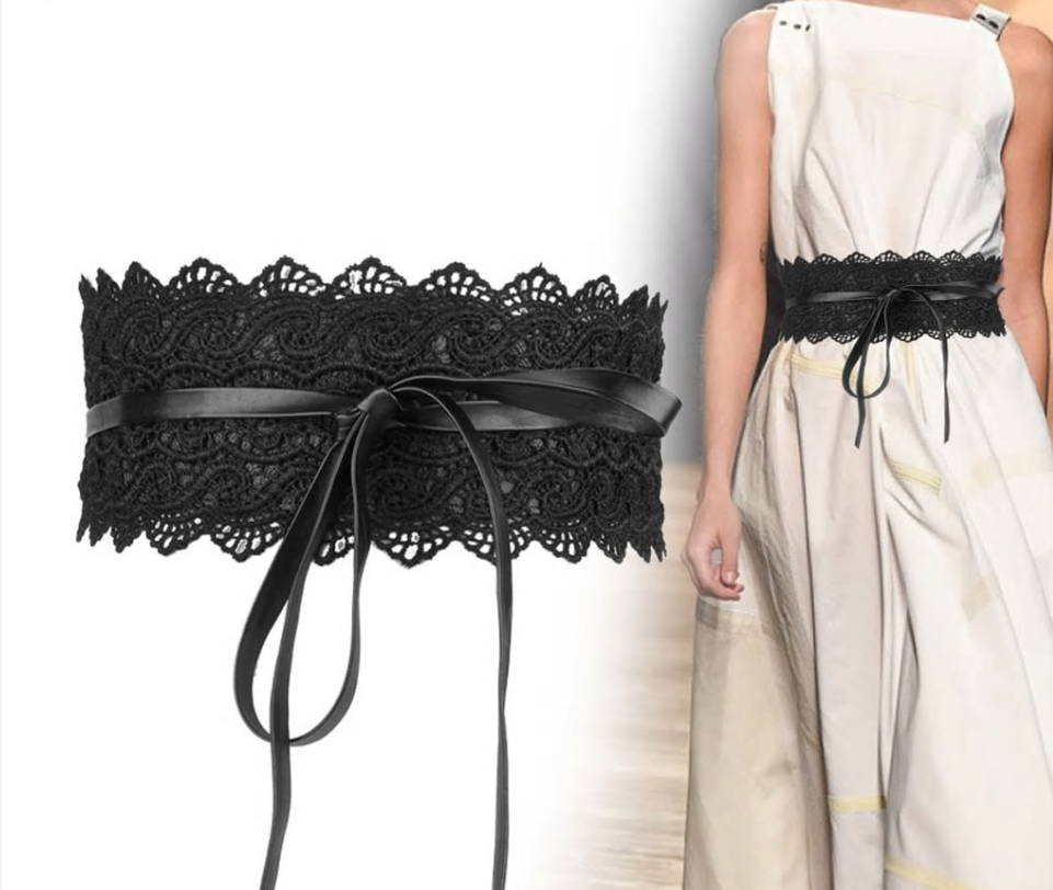 Bowknot Lace & Faux Leather Wrap Belt
