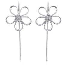 925 Silver Open Petal Flower Earrings