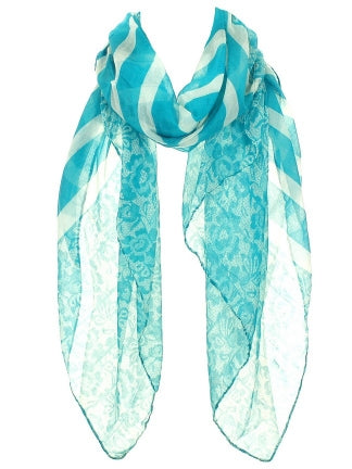 Floral and Stripes Teal Scarf