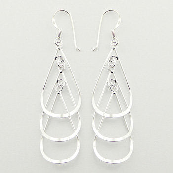 925 Silver Stacked Open Drops Dangle Earrings