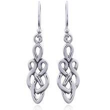 925 Silver Openwork Celtic Eternity Knot Dangle Earrings