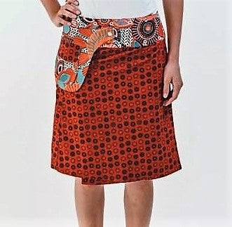 Reversible Skirt in Orange Floral Print
