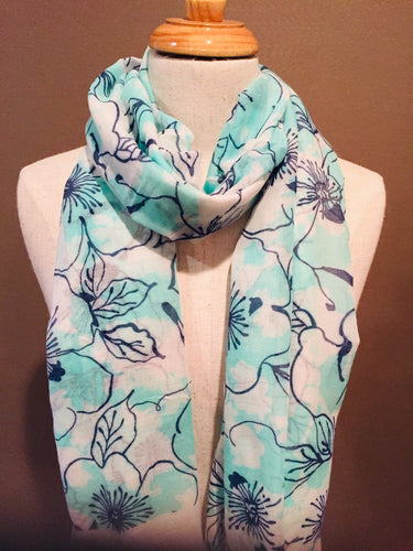 Sky Blue and White Cotton Voile Scarf