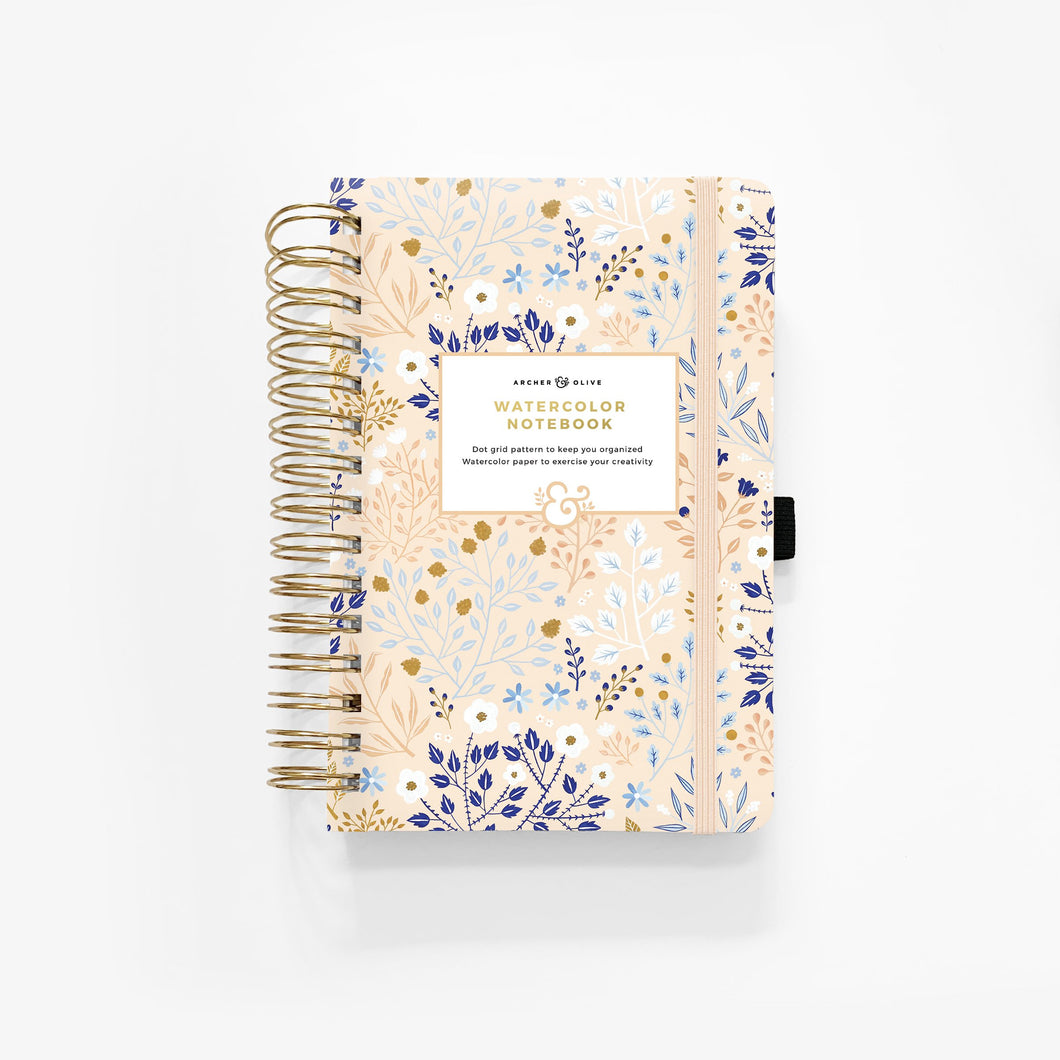WATERCOLOUR A5 Blush A Bye Spiral Dot Grid Notebook