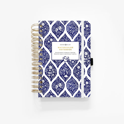 WATERCOLOUR A5 Fleur de Bleu Spiral Dot Grid Notebook