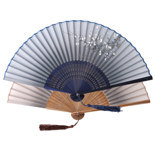 Beautiful Print Classic Bamboo Silk Blend Handmade Fan