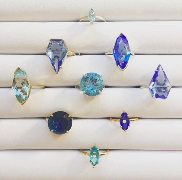 handmade blue cocktail rings