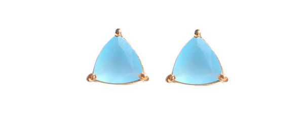 blue chalcedony triangle prong stud earring