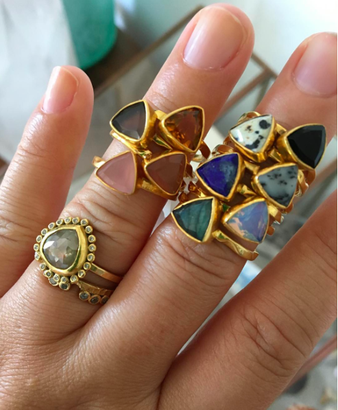 handmade stacking gemstone rings by Love Tatum