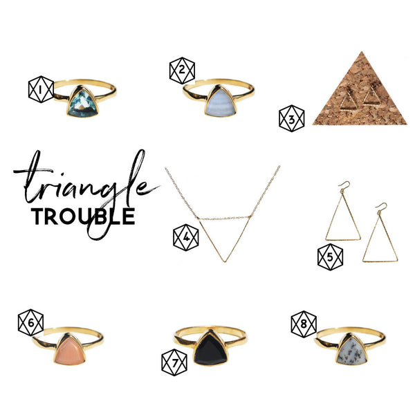 handmade triangle shaped jewelry
