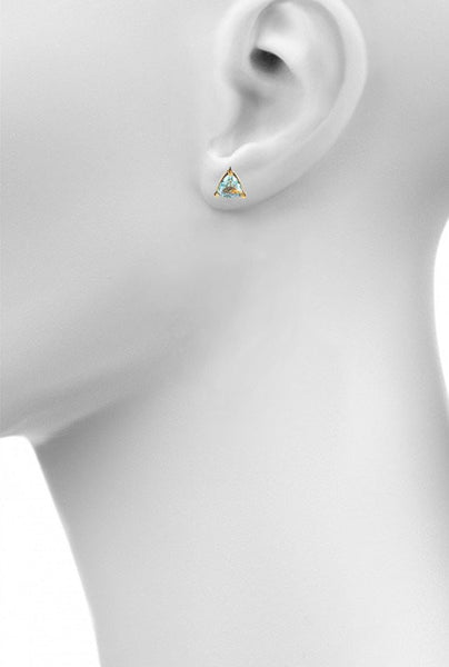 aquamarine triangle stud earring by Love tatum