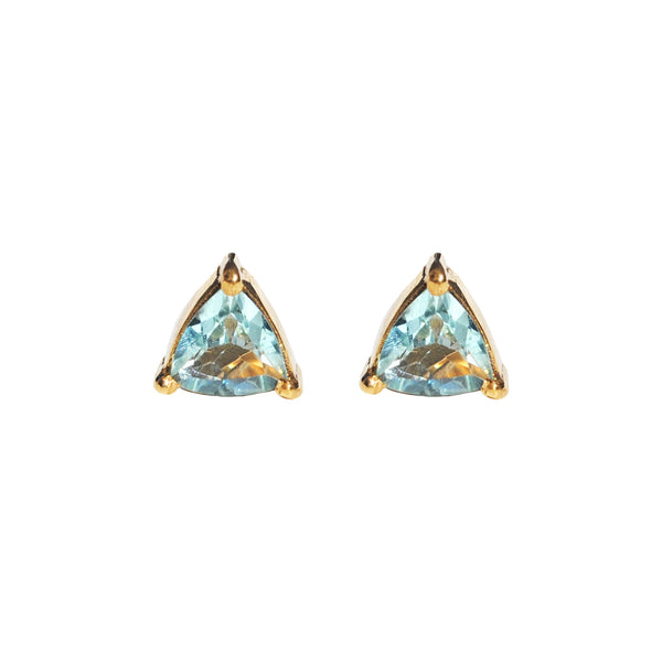handmade aquamarine triangle prong studs by Love tatum with gemstone meanings