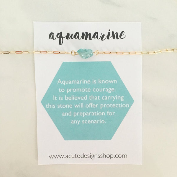 handmade aquamarine gemstone meanings healing necklace by Acute Designs