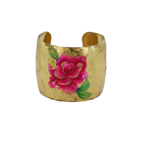 handmade gold leaf cuff with hand painted flower