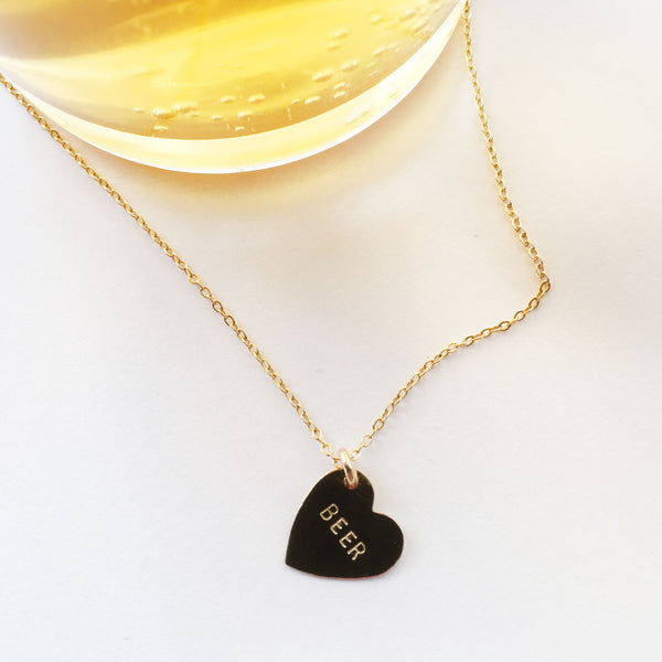 handmade hand stamped beer necklace by bunnies in LA