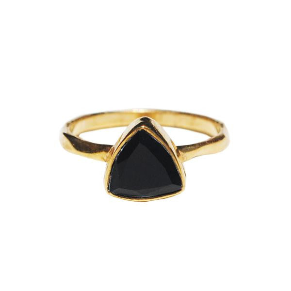 Black onyx triangle ring by Love Tatum
