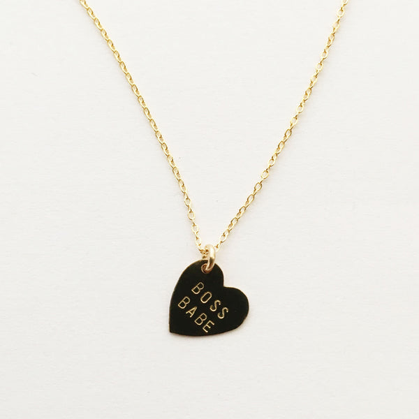 Hand stamped boss babe heart necklace
