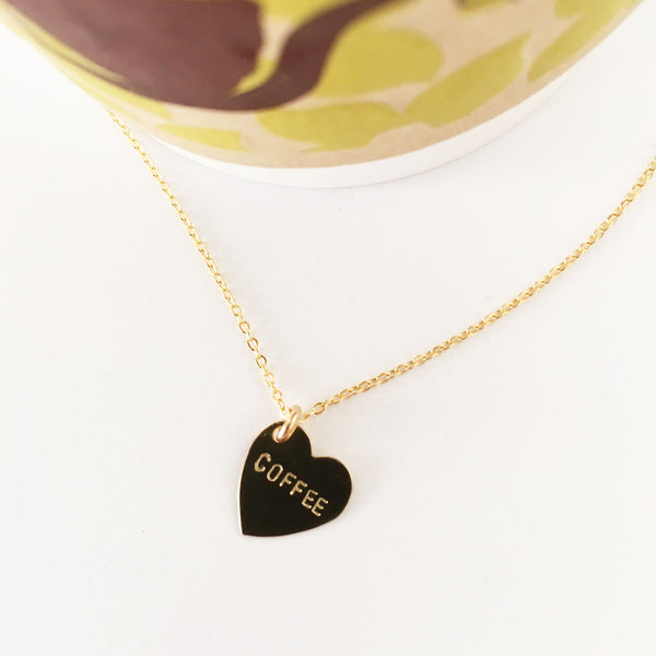 handmade hand stamped coffee heart shaped necklace by Bunnies in LA