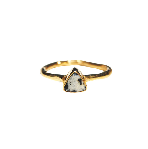 dalmatian jasper mini triangle ring by Love Tatum with gemstone meanings