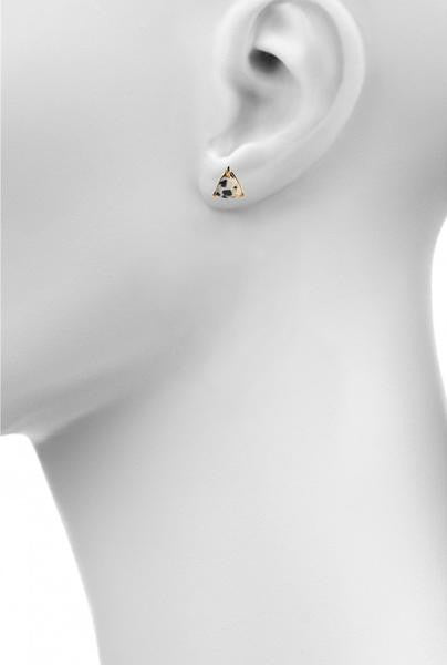 dalmatian jasper triangle prong stud earring by Love Tatum