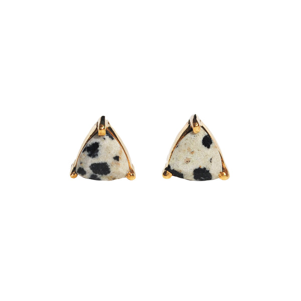 Dalmatian jasper triangle prong studs by Love Tatum with gemstone meanings