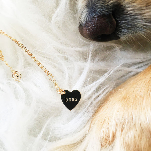 handmade hand stamped dog heart charm by Bunnies in LA
