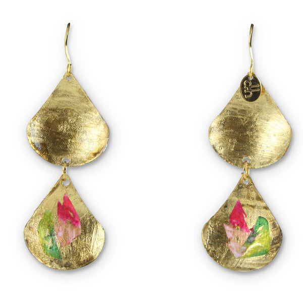 handmade gold earrings with painted design by Double Happiness Jewelry
