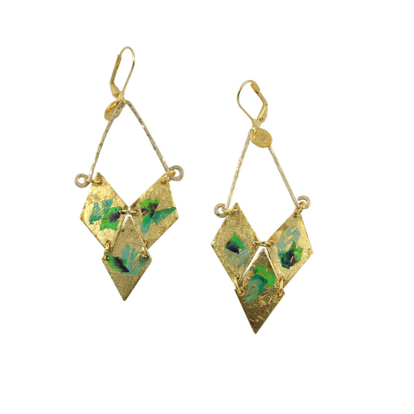 gold leaf and gold fill earrings hand painted by double happiness jewelry