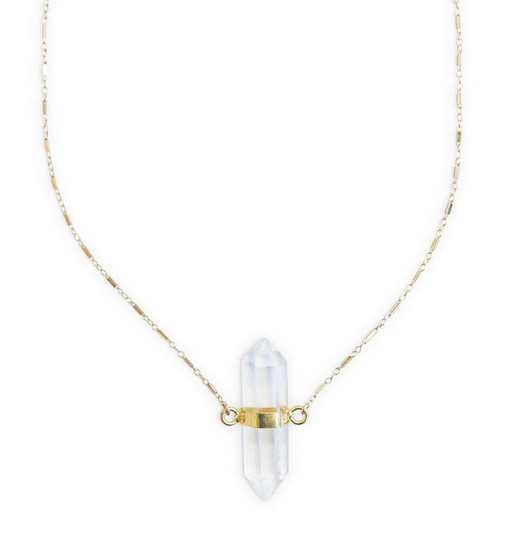 quartz double point necklace by Erin Fader Jewelry