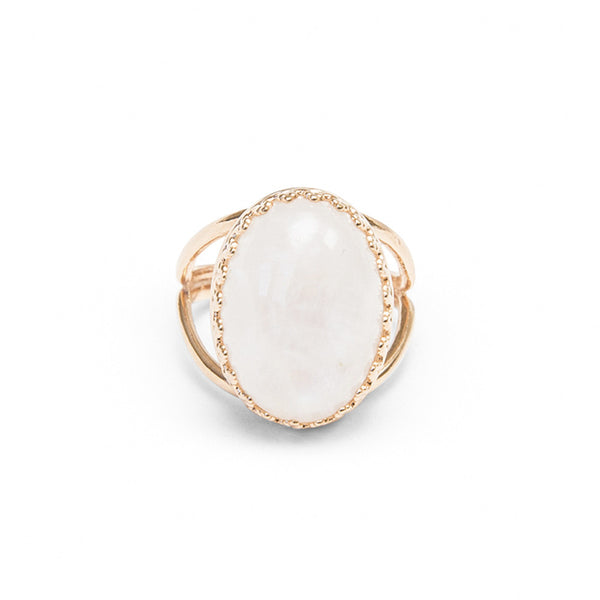 oval crown ring in moonstone by Erin Fader