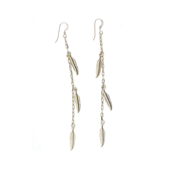 Handmade feather charm earrings by Erin Fader