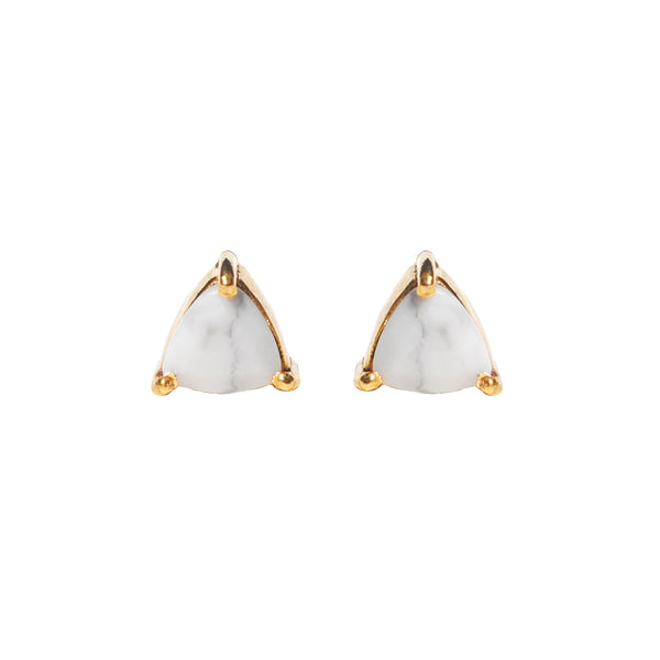 howlite triangle stud earrings by Love Tatum with gemstone meanings