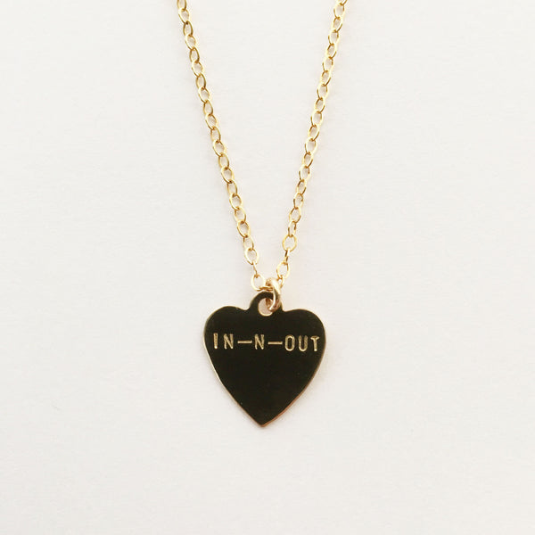 handmade hand stamped in-n-out heart necklace by Bunnies in LA