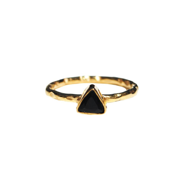 black onyx mini triangle ring by Love Tatum with gemstone meanings
