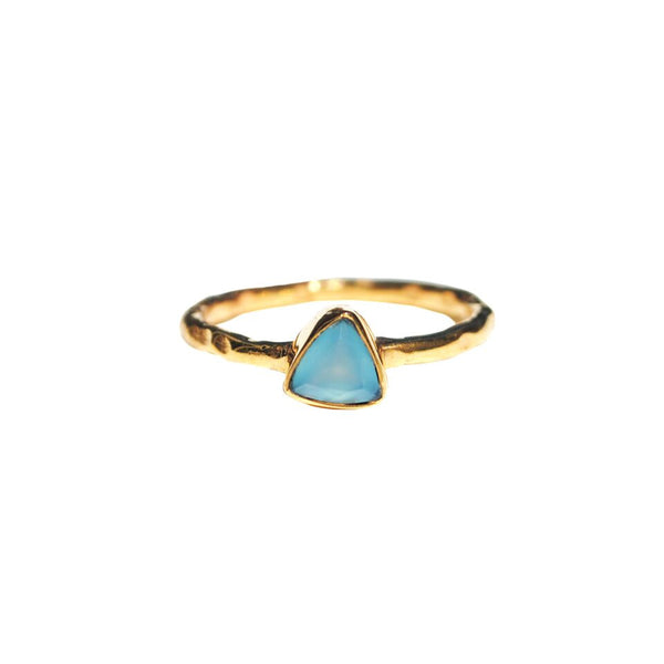 blue chalcedony mini triangle ring by Love Tatum with gemstone meanings