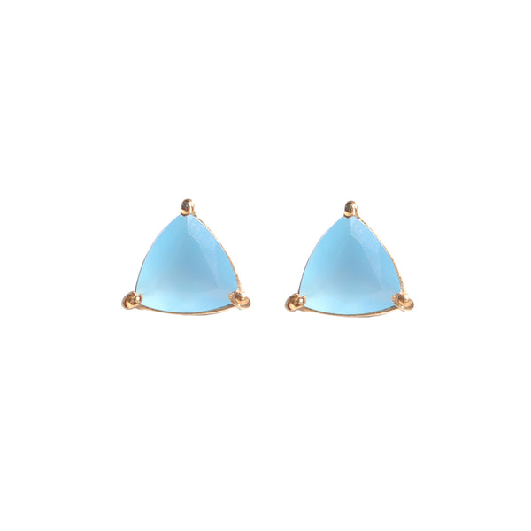 light blue chalcedony triangle prong stud earring by Love Tatum